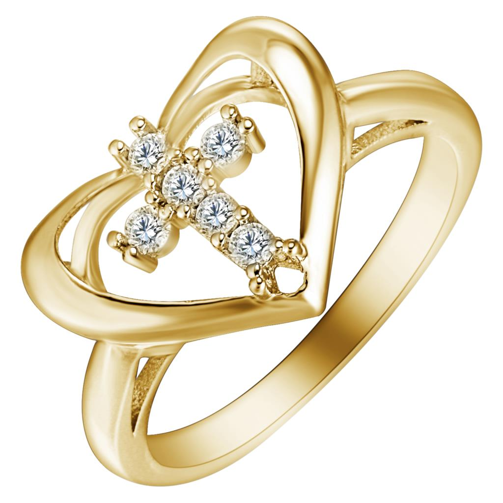 New Arrival Gold Color Cross Micro White Zircon Finger Ring for Lover Heart love Wedding ...