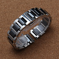 16mm 18mm 20mm Negro correas de Reloj Correa de reloj de alta calidad Relojes de Pulsera De Cerámica de acero inoxidable de metal hebilla de plata desplegar