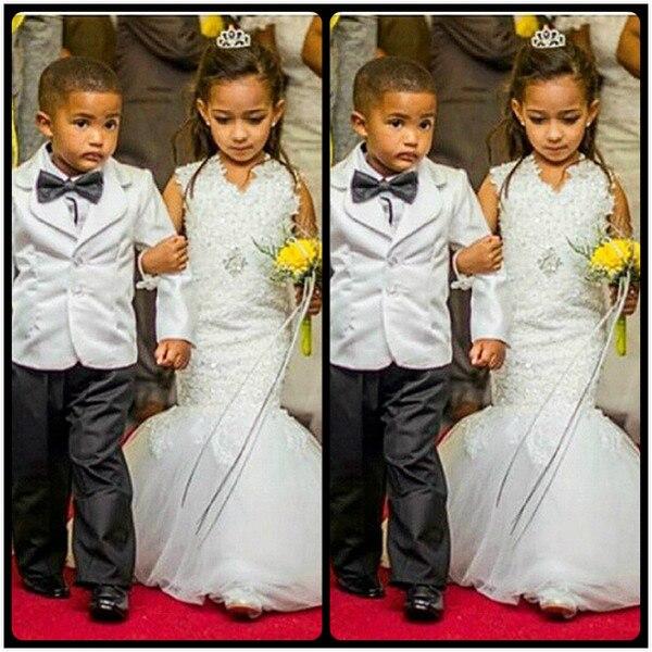 Romantic Mermaid   Flower     Girl     Dresses   for Weddings Sleeveless Applique V Neck Trumpet Little   Girls     Dress   2019 Robe enfant mariage