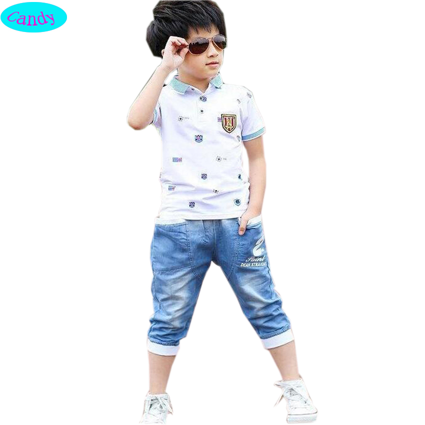 2016 summer style kids sets Boys Summer Cotton Clothes sets Cute Polo shirts+shorts jeans kids pajama clothing set Baby boys TZ5