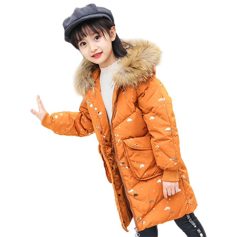weiqinniya Girls Down Parka Jackets Winter Jacket For Girl Fashion Children Down Parka For Girl 2018 Kid Fur Hooded Print Jacket children girl jackets winter down coat jacket for girl fashion children fur hooded thick cotton down warm solid kid parka jacket