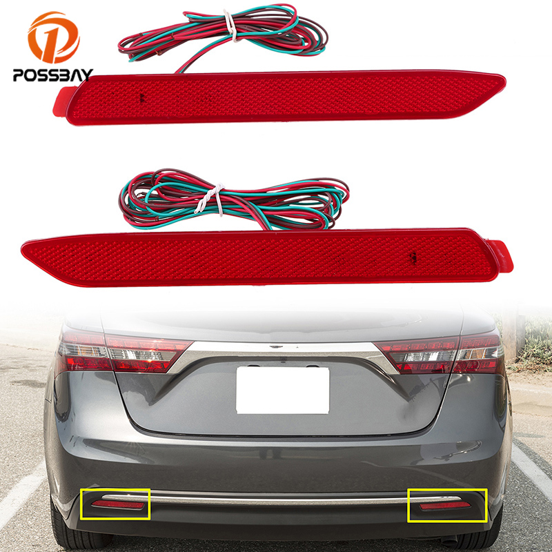 POSSBAY 24LED Rear Bumper Reflector Light Tail Stop Fog Lights for Toyota Avalon/Sienna XL30 Red Warning Lamps