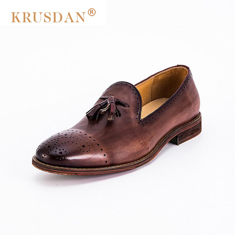 [krusdan]luxury Italian Retro Designer Red Brown Brogue Genuine Leather Slip-on Mens Formal Dress Party Office Wedding Shoes pjcmg fashion italian luxury mens shoes casual oxfords black red lace up designer genuine leather men flats office wedding shoes