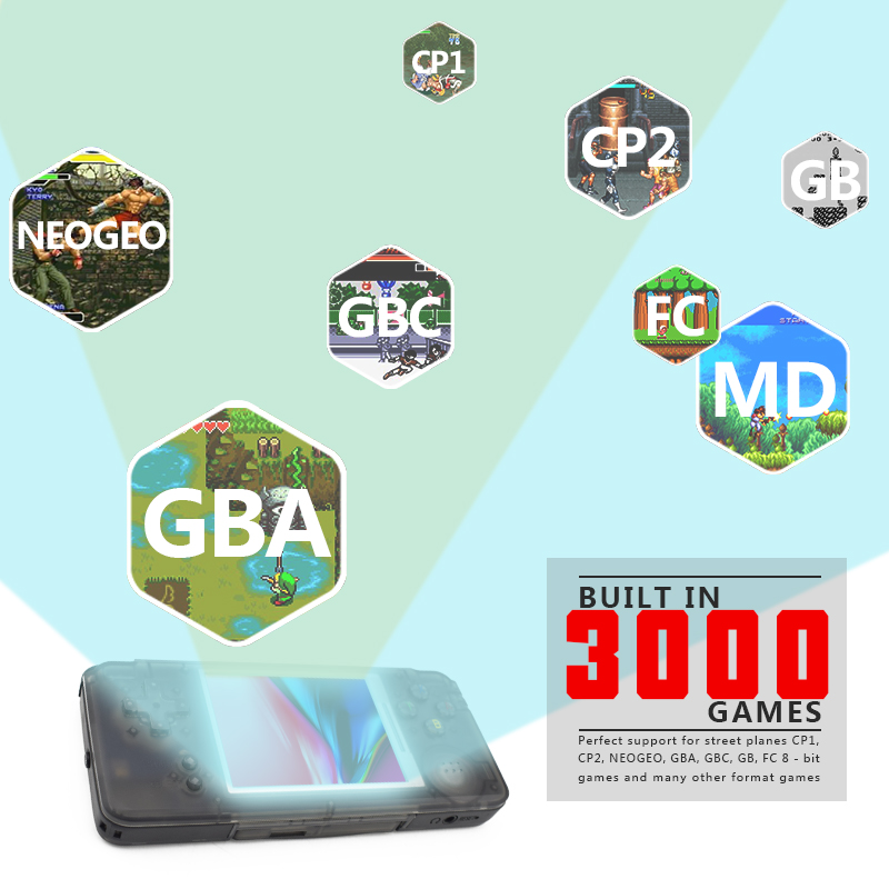 Handheld Game Console 3.0 Inch Console Built-in 3000 Classic Games Support For GBA/NEOGEO/CP1/CP2