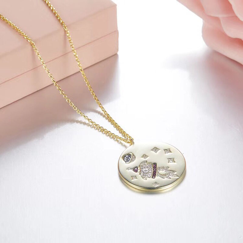 SLJELY Round Gold Color Zircon Roket Choker 925 Sterling Silver Fine Jewelry Women Party Fashion Star Charm Pendant Necklace