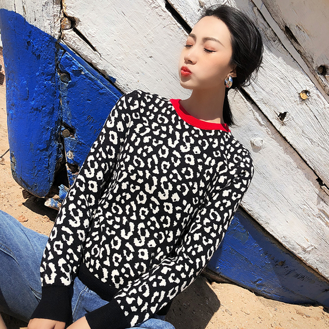 Autumn winter leopard knitted long sleeve contrast color crewneck women sweater