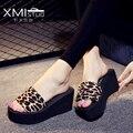 2017 Señoras Del Verano Zapatos de la Playa de Las Mujeres Sandalias de Plataforma Cuñas Para La Mujer Zapatos de Verano Zapatillas Sandalias Y Zapatillas de Leopardo