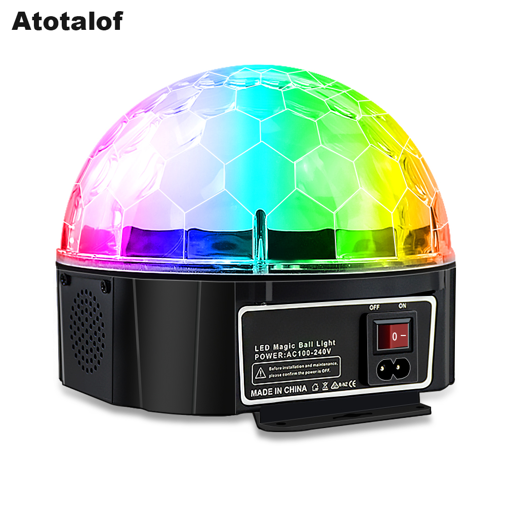 Atotalof Bluetooth LED Magic ball 9 Color Installable Battery Stage Light DJ Disco Club 7 Sound Control Mode With Remote Control