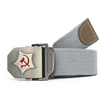 New Men Belt Thicken Canvas Communist Military Belt Army Tactical Belt High Quality Strap 110cm 130 cm 10 Colors Women Belt