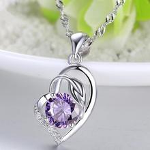 Everoyal Trendy 925 Sterling Silver Necklace For Women Jewelry Charm Crystal Purple Heart Pendant Girls Accessories Hot