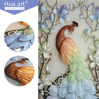 Hua Art 5D Diamond Embroidery Painting Diy Diamond Painting Cross Stitch Diamond Embroidery Floral Animal Peacock