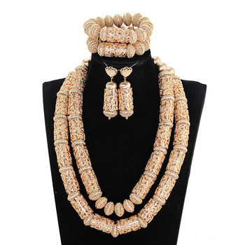 Dubai Statement Bridal Jewelry Sets Superior Copper Gold Beads Accessory Jewelry Sets Big Heavy for Women African Jewelry ABH713