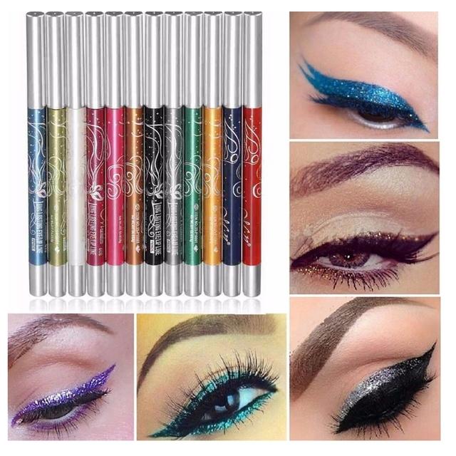 12 pcs Sombra de Olho Delineador Caneta Conjunto Long-lasting Shimmer Auto-rotação Ultra Brilhante Eyeshadow Lip Liner Delineador caneta Maquiagem Kit2