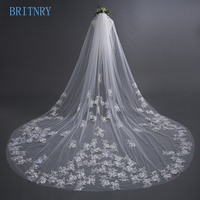 BRITNRY High Quality Wedding Veil with Comb Lace Appliques Long Bridal Veil Ivory Veil Wedding Accessories