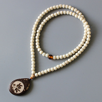 Wholesale Ivory White 108mala Tagua Nut Beads Necklace With Artisan Carved Lotus Flower Pendant Zen Buddhism OM Beaded Jewelry