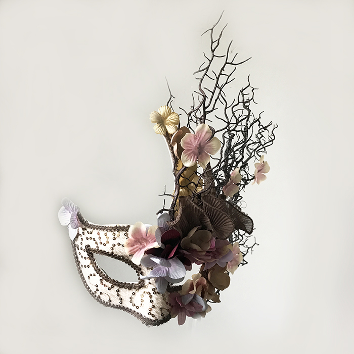 Fine Venetian Broadway Floral Tree Branches Antler Mask Masquerade Christmas Makeup Party Fancy Dress Makes Accessories