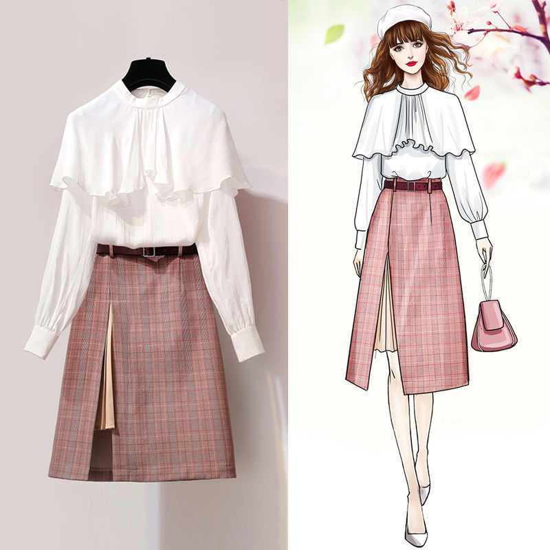 Spring Summer Dress for Women Clothes 2019 Korean Vintage Elegant Two Piece Set Shirt Tops + Skirt Set Outfits Vestidos ZT2405