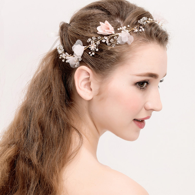 5e75e615dee Gold Crystal Pink Yarn Floral Flower Bride Headband Princess Pearl Wedding  Hair Jewelry Hair Accessories Hairwear For Women