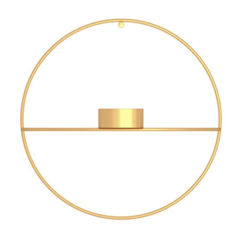 3D металлический подсвечник настенный геометрический Круглый Подсвечник домашний декор геометрический чайный светильник подарок на день Святого Валентина - Цвет: 01