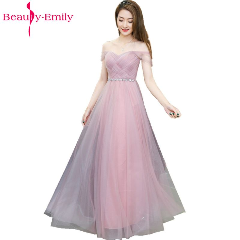 Beauty Emily Long Pink Bridesmaid Dresses 2018 A Line Sleeveless Lace Up Off the Shoulder Wedding Party Girl Prom Dresses