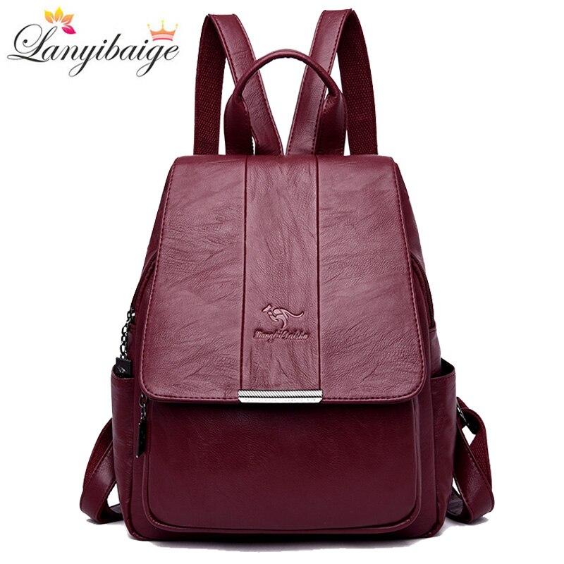 Women Leather Backpacks For Girls Preppy Style Mochilas Ladies Backpack Vintage Travel Backpack School Bags For Teenage Girls