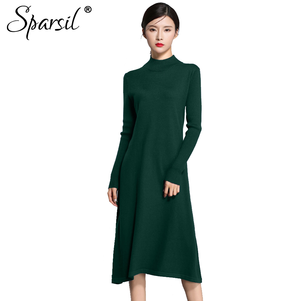 Sparsil Women Winter Knitted Wool Dresses Long Sleeve O-Neck Long Loose Sweater Dress Female Solid A-Line Autumn Vestidos girl sweater dress superfine wool knitted dress 2015 o neck pocket long sweater tassels christmas children clothing kids dresses