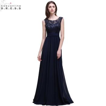 Robe de Soiree Sexy V Back Navy Blue Lace Bridesmaid Dresses Long  Cheap Wedding Party Dress Robe Demoiselle D'honneur