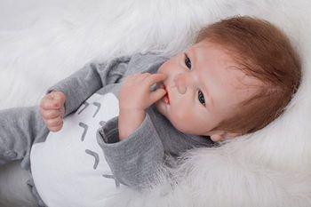 """22"""" handmade silicone reborn baby dolls real newborn baby looking toddler Baby Bonecas girl  bebe doll reborn menina de silicone"""