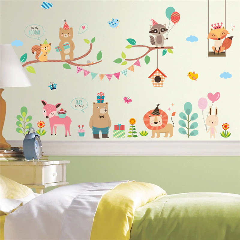 Forest Zoo Jungle Wild Animals Wall Sticker Christmas Decoration Wall Decal Mural Shop Store Window Home Decor