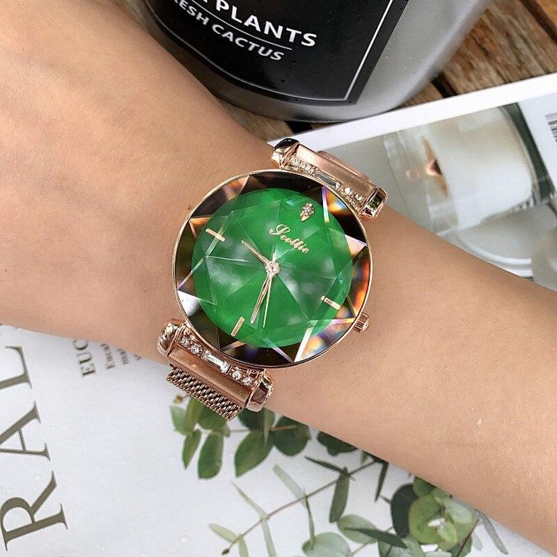 2018 Marque De Luxe En Cristal Dames Montre Femmes Aimant Boucle Robe Montres Mode Femme Quartz Watchs Acier Inoxydable Montre Horloge