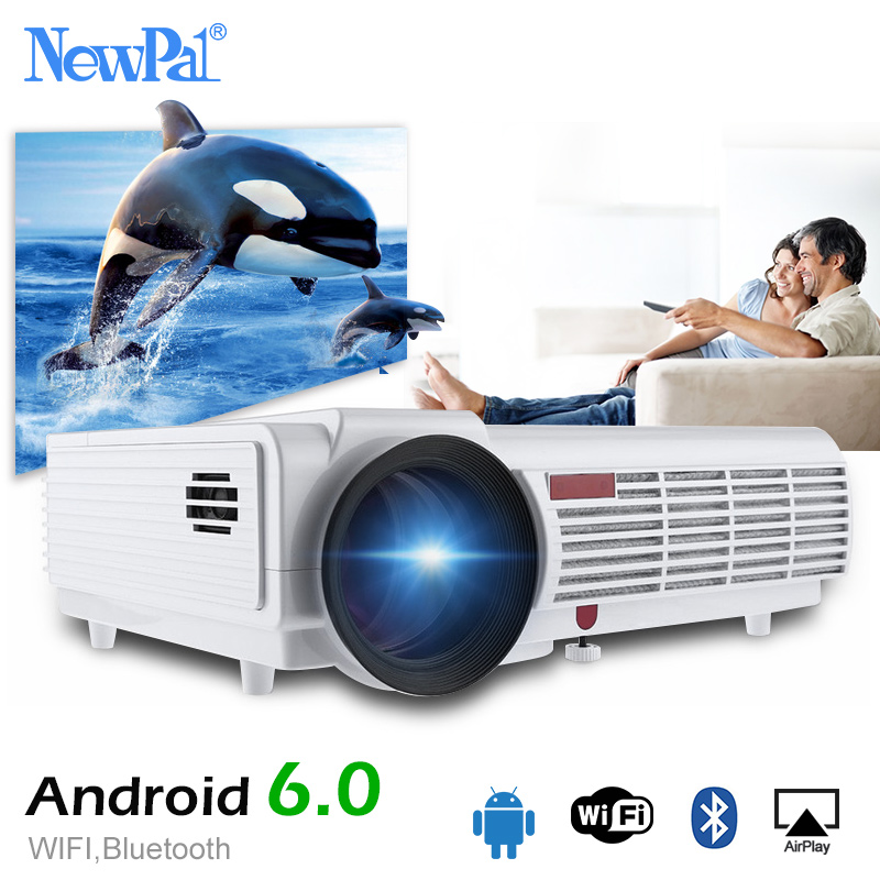 NewPal 5500 lúmenes Proyector LED96 Plus Android 6,0 soporte 1920*1080 p Bluetooth WIFI 3D Full HD Proyector con regalo gratis