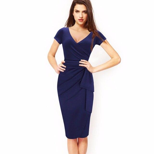 Ado L Plus Size Women Deep V Neck Pencil Bodycon Dress Royal Blue Short Sleeve D