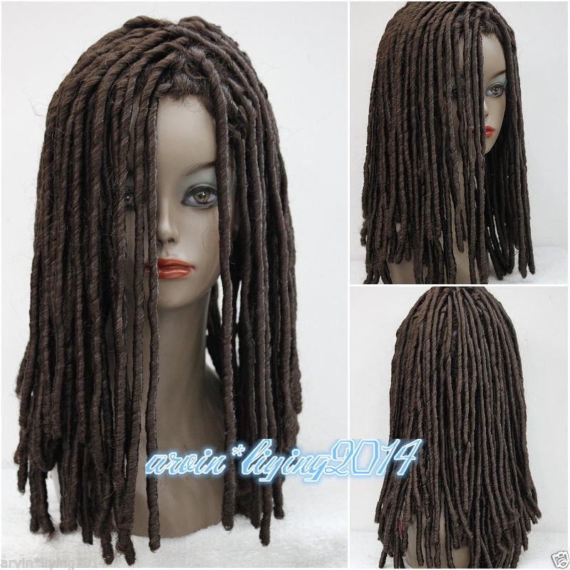 Ladies Wig Dreadlock Long Medium brown Curls Hair Cosplay fancy dress Women's Heat Resistant Hair Wigs FREE SHIPPING