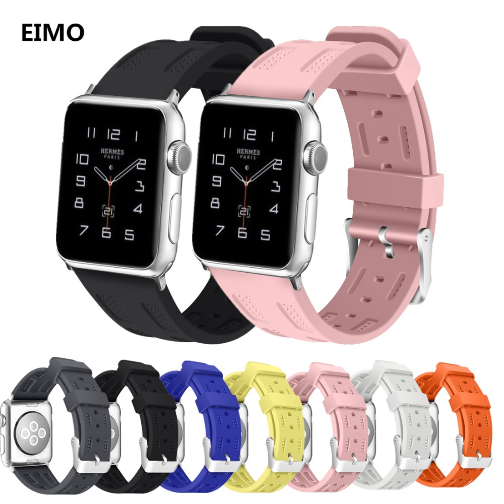 Sport band correa For Apple watch bands 3 42mm 38mm Silicone strap Iwatch bands series 3 2 bracelet wrist belt watchband new sport silicone strap for apple watch band 42mm 38mm wrist bracelet watchband for iwatch series 3 2 1 two color watch belt
