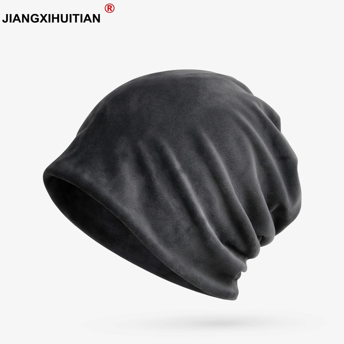 Winter Hats For Women Men Cashmere Turban Hat Ladies Thick Velvet Warm Cap Outdoor Ski Hat Female Mens'   Skullies     Beanies