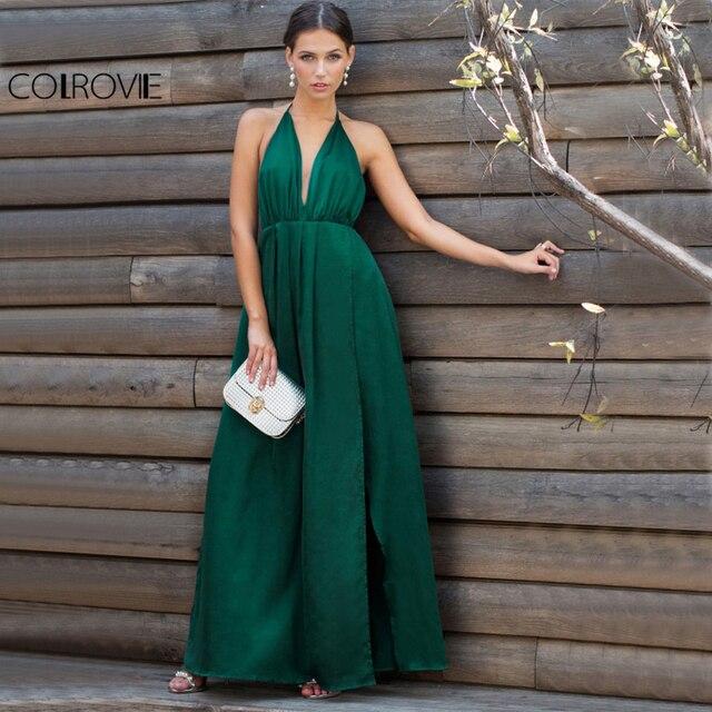 COLROVIE Sexy Haute Fente Satin Maxi Parti Robe 2017 Femmes Plongez Cou Croix Retour Robes D'été Vert Sans Manches Wrap Cami robe
