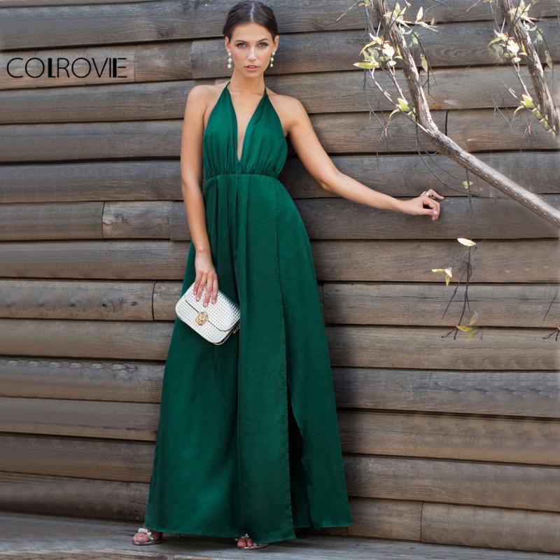 COLROVIE Sexy rajó satén vestido de fiesta Maxi 2017 mujeres Plunge cuello Cruz verano vestidos sin mangas verde Wrap Cami vestido