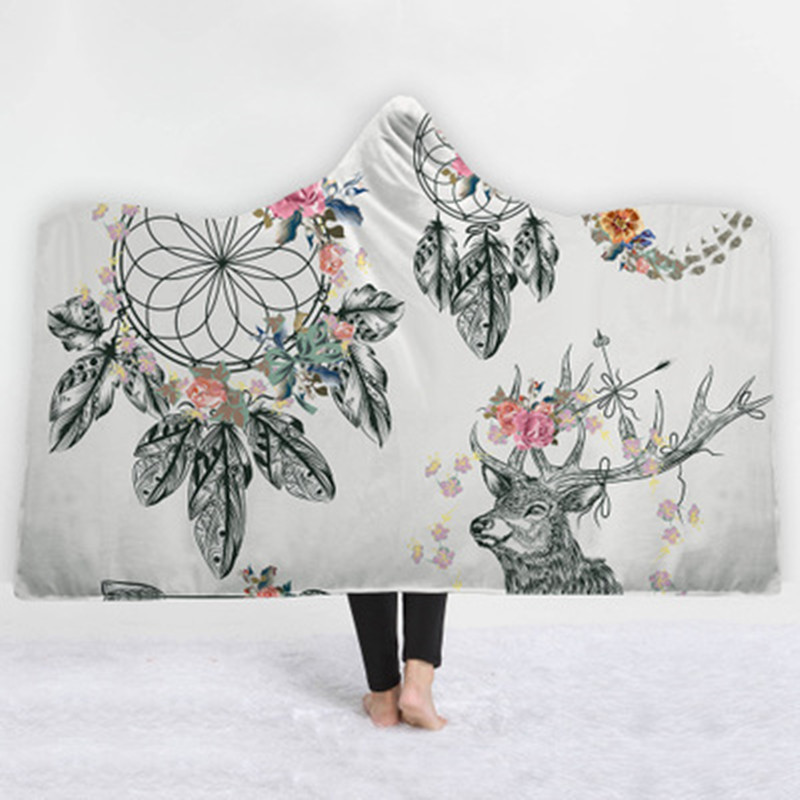 Bedding Helpful Magic Wearable Hooded Throw Blanket Colorful Dream Catcher Printing Fleece Fabric Sofa Couch Bed Cover Blankets 2019 New Arrival