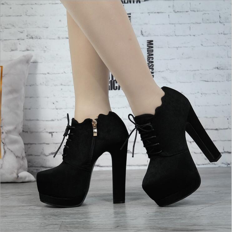2018 nouveau automne femmes super haut talon troupeau noir bottes à glissière femme à lacets noeud papillon avec table imperméable 7 cm bottes