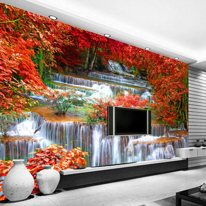 Custom 3D Photo Wallpaper Natural Forest Trees Waterfall Living Room TV Background Large Wall Mural Wallpaper Modern Painting