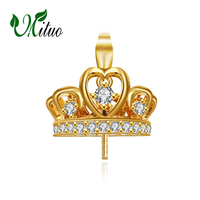 MITUO 18K Yellow Gold Crown pendant pearl DIY accessories necklace for love women,wedding pearl Jewelry,chain necklace
