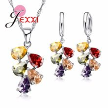 Crystal Paved Bridal Jewelry Sets 925 Sterling Silver Leaves Shape Pendant Necklace Earrings Women Wedding Jewelry Set(China)