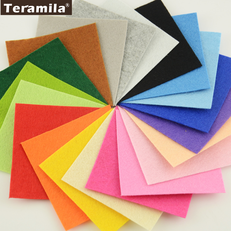 Polyester Felt Fabric pack Cloth DIY Handmade Sewing Home Decor Material Thickness 1mm Mix 20 Colors/lot 10cmx10cm each craft