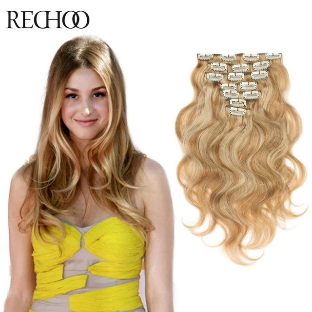 Net Wavy Human Hair Extensions 27613 Body Wave Blonde Clip In Hair