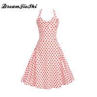 Dreamjieshi Summer Cute Girl Spaghetti Strap A Line Dress Hepburn Retro 60s Woman Festival Dress Vintage