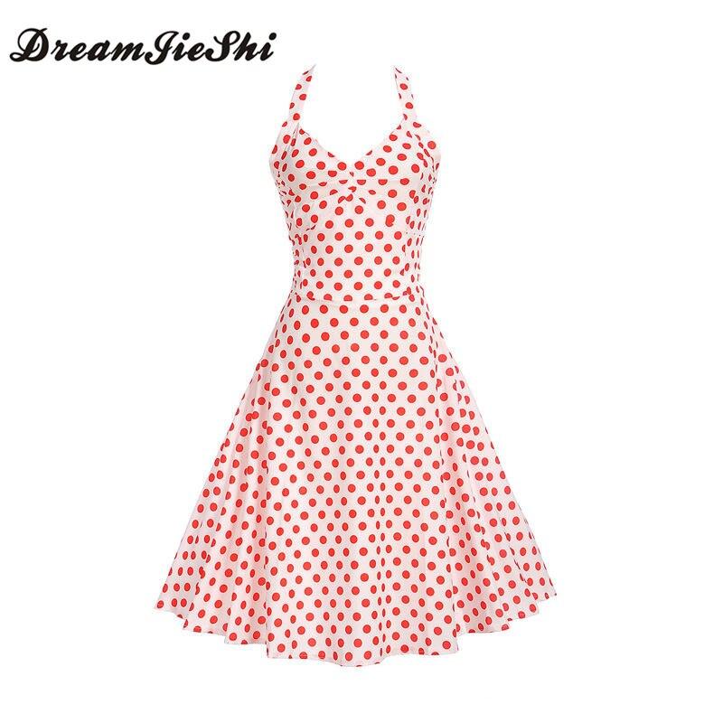 Dreamjieshi Summer Cute Girl Spaghetti Strap A Line Dress Hepburn Retro 60s Woman Festival Dress Vintage