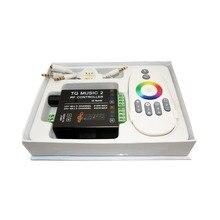 Лучшая цена, 1 шт., Φ 18A RGB Music 2 контроллер, Радиочастотный пульт дистанционного управления, интеллектуальная звуковая чувствительность, светодиодная подсветка, пульт дистанционного управления для светодиодной ленты