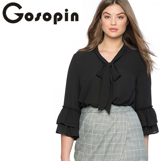 Gosopin Women Plus Size Blouses Elegant Tie Neck Chiffon Ruffle Long Sleeve Shirt  4XL Solid Office Ladies Workwear Tops 251325 4698159d43c1
