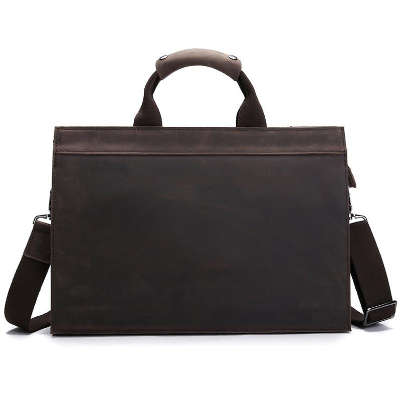 Brand Men's Briefcase Crazy Horse Genuine Leather Laptop Bag  Large Capacity Business Men Briefcase Pure Color Laptop Bag