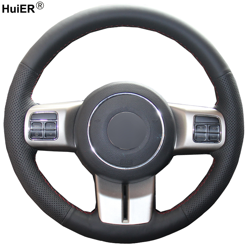 HuiER Hand Sew Car Steering Wheel Cover Breathable Black Leather For Jeep Compass Grand Cherokee Wrangler Patriot 2012 2013 2014